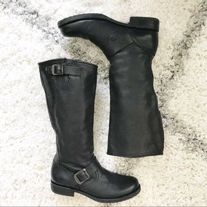 Frye Veronica Slouch Black Leather Boots Size 8